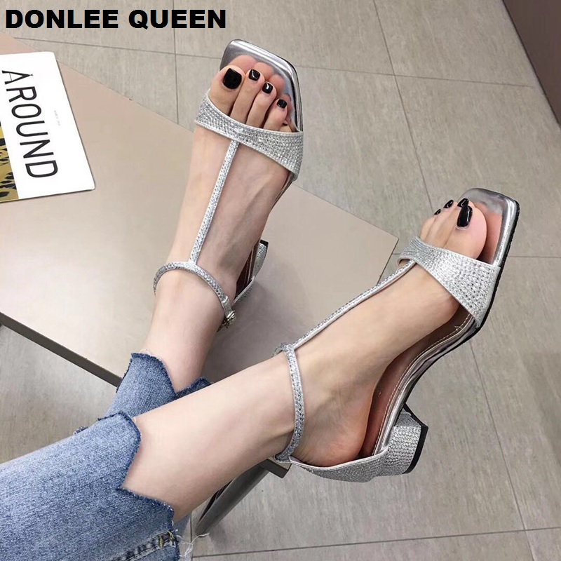 2019 New Fashion Women Sandals Narrow Band Crystal Low Heel Female Party Dress Shoes Buckle Strap Peep Toe Sandal Shoe Sandalias