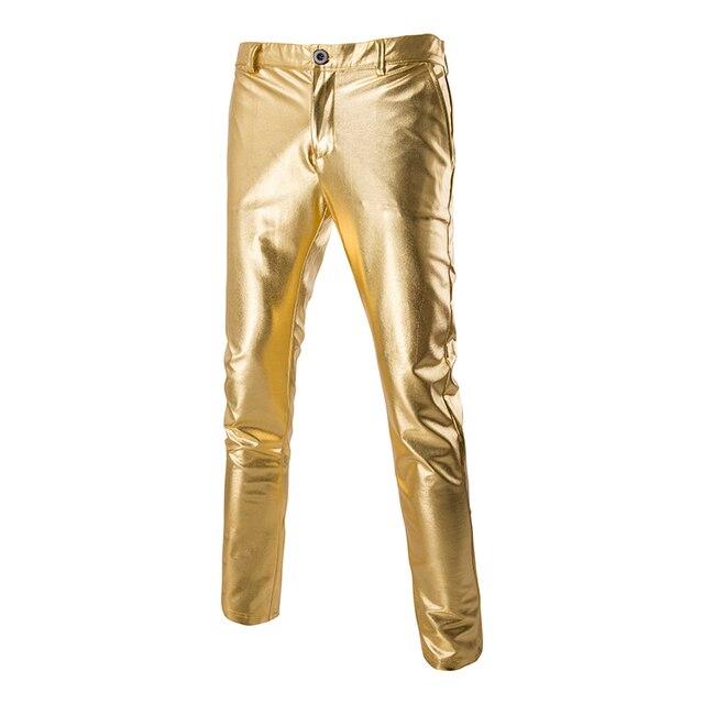 Новая Тенденция Золотой Металлик Брюки Мужчины 2017 Ночной Клуб Мода люди Уменьшают подходящий Брюки Хэллоуин Блестящий Серебряный Черное Золото Брюки мужчины