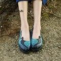 2017 Pavão Genuíno Sapato De Couro Liso Mocassins Feminino animal print Chinês Sapatos Casuais Macio Handmade Peas Mulheres Apartamentos Sapato