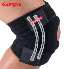 Kuangmi knee support Open Patella Knee Brace Mountaineering Walking Wrap Protector EVA Pad Springs Support Adjustable 1Pair
