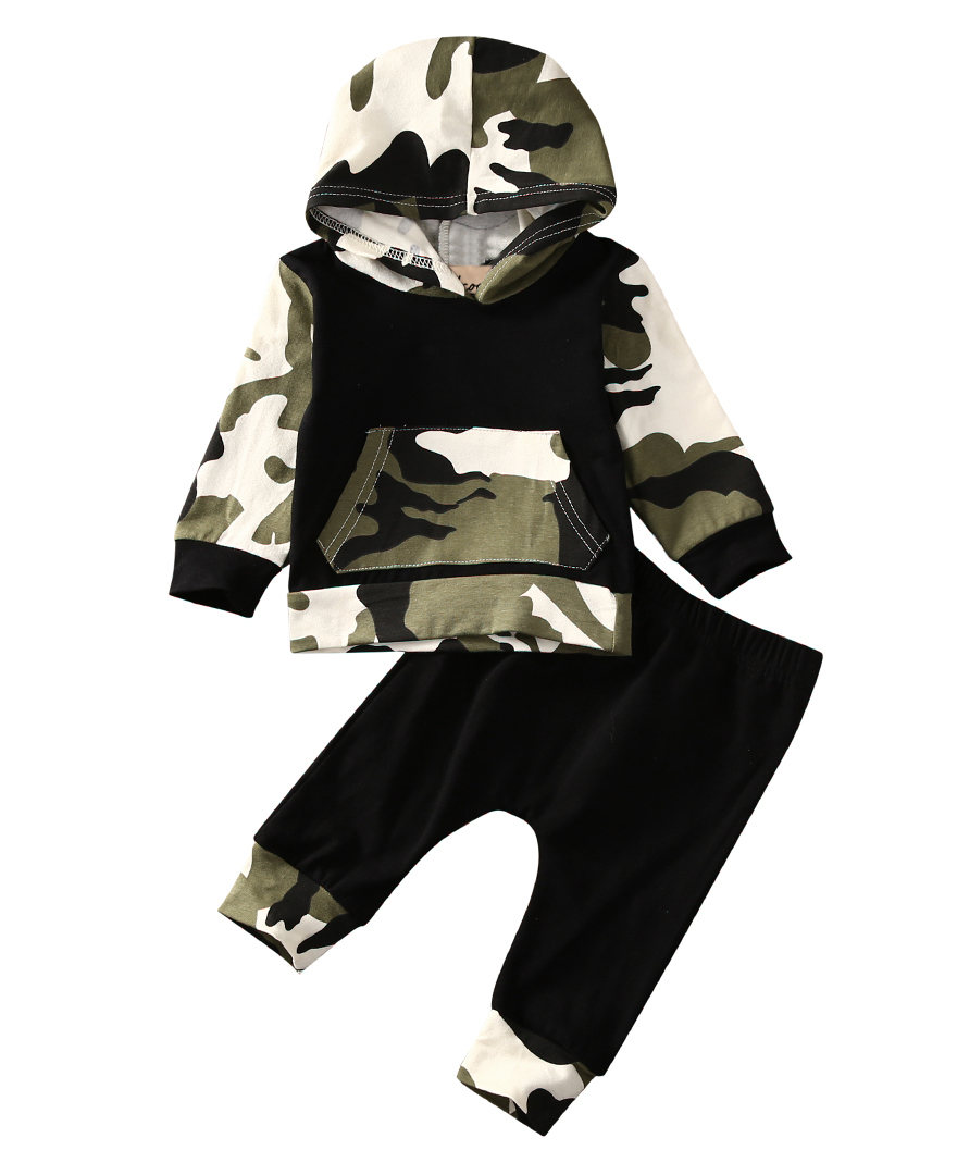 2 Stücke!! Herbst Frühlingskindkleidung Baby Kleidung Sets Baby Jungen Camouflage Camo Hoodie Tops Lange Hosen Outfits Set Kleidung