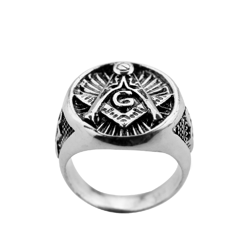 Freemason Masonic Ring For Men Silver Master Mason Signet Ring For Mens Punk High Quality Gift For Man Woman Movie Jewelry