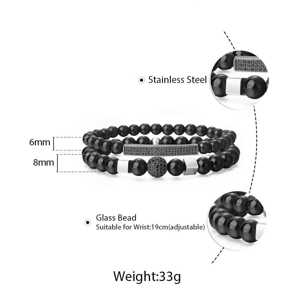 Mix 2 sztuk/zestaw naturalne szklane koraliki galwanicznie CZ bransoletki dla mężczyzna kobiet czarny bransoletka z paciorkami 6mm 8mm biżuteria prezent DBM59