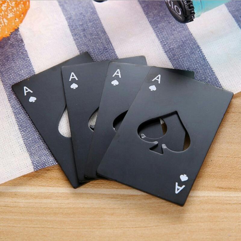 Black/Silver Poker Card  Spades Beer Bottle Opener Personalized Stainless Steel Bottle Opener Bar Tool-in Openers from Home & Garden