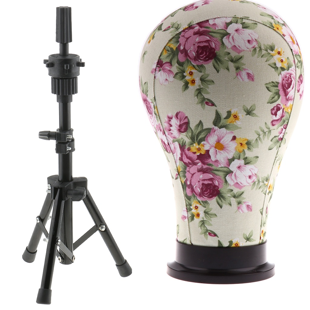 23 Inches Cork Canvas Block Mannequin Head For Wig Making With Tripod Support Stand Cosmetology Training Doll Head