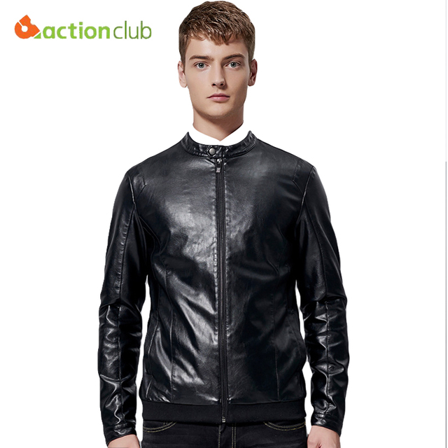 Men Autumn Collar Leather Jacket PU Simulation Lather Coat Young Leather Clothing Men's Motorcycle Jacket Men Clothing