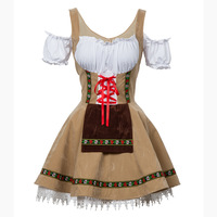 Free Shipping New Plus Size Carnival Festival October Beer Maid Costume German Oktoberfest Wench Maiden Dirndl Fancy Dress M 4XL