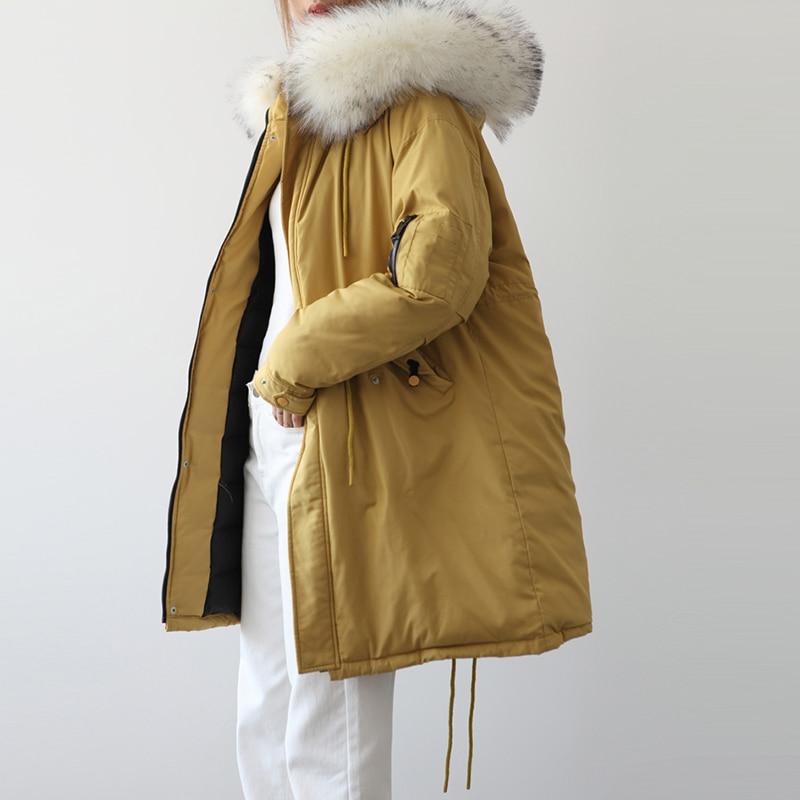 Capuchon Blanc Yp2090 Femmes Long Vestes De Et D'hiver Fourrure Le Occasionnel D'oie Jaune Duvet Manteaux À Bas Parkas Femelle Vers Grand Mode Épais Col Bwr4wq