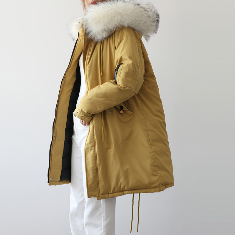 White Goose   Down     Coats   Women Fashion Big Fur Collar Hooded Long Thick   Down   Jackets Winter Female Casual   Down   Parkas YP2090