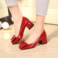 2016 High Quality New Sexy Red Black Women Thick Low Heels Pumps Patent Leather Fashion Bow
