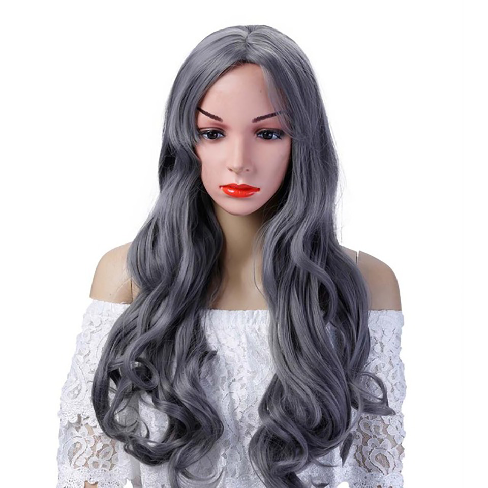 AOSI WIG 8 Colors 26 Long Wavy Cosplay Wigs With Fake Bangs Heat Resistant Synthetic Hair For Women
