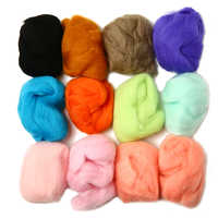 12pcs/Lot 12 Colors 5g Soft Wool Fibre Roving For Needle Felting DIY Hand Spinning Sewing Doll Needlework Fibre Arts