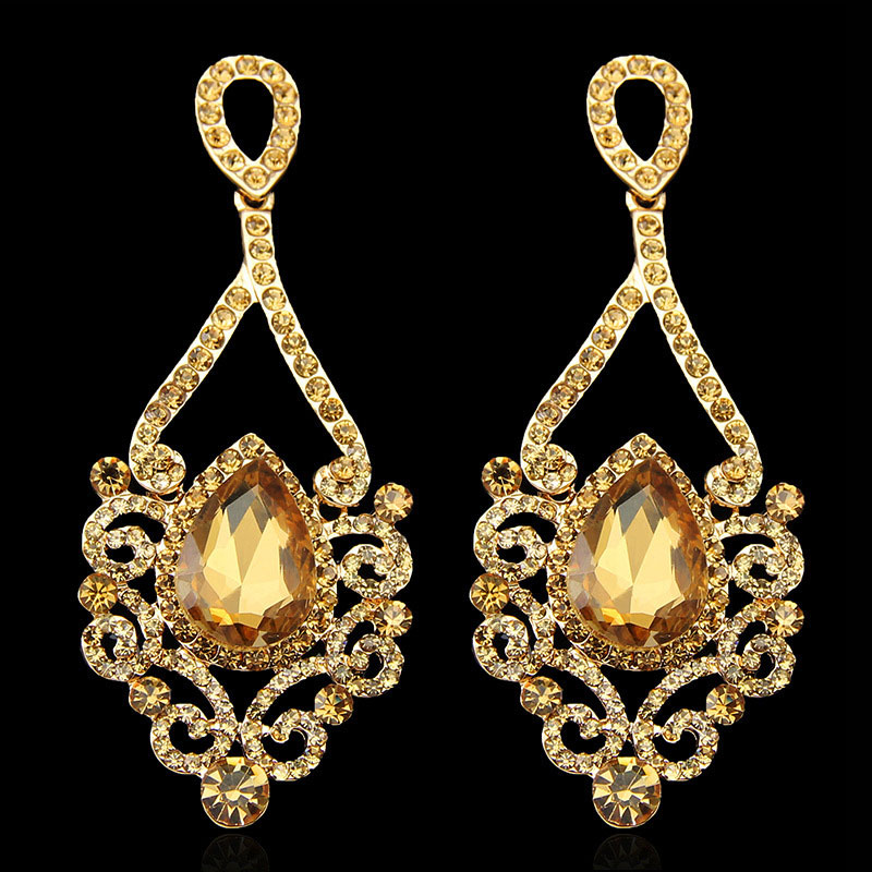 Hot Ing Fashion Exquisite Gold Long Chandelier Earrings For Women Wedding Water Drop Bridal Earring With Crystal In From Jewelry