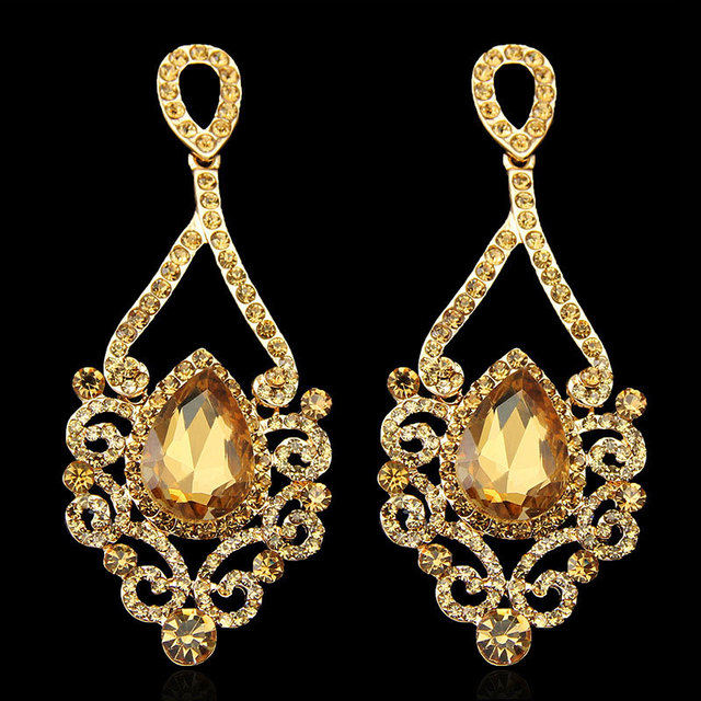 Hot Selling Fashion Exquisite Gold Long Chandelier Earrings For ...