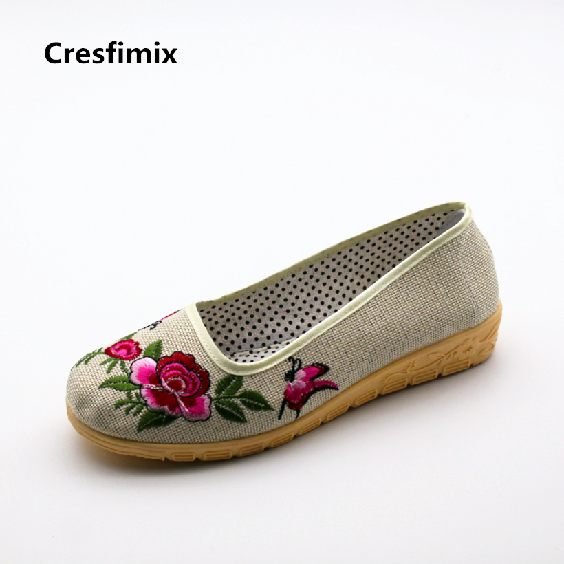Cresfimix women fashion floral print cloth flat shoes lady cute spring & summer dance shoes female retro round toe shoes zapatos cresfimix women cute spring