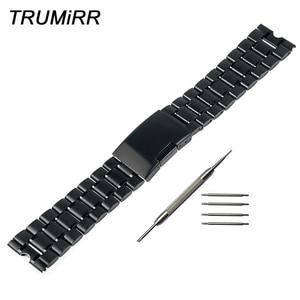 22mm Stainless Steel Watch Band Metal Watchband Bracelet Strap for Smartwatch Motorola Moto 360 1 1st Gen 2014 Black Silver