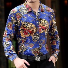 2016 Summer Spring High Quality New Arrive Personalized Cool Mens Silk Long Sleeved Shirts Leopard Tiger Printed Shirts Size 3XL