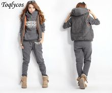 Winter hoodies women sports suits 3pcs hooded pants vests 165(China)