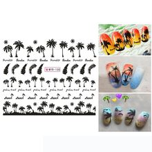 Manicure Palm Oceaan Wind Tr cal Surf Beach Kokospalm Stijl Nail Sticker Voor Nail Patroon Schilderen Wrap Papier Folie tip Tatto(China)