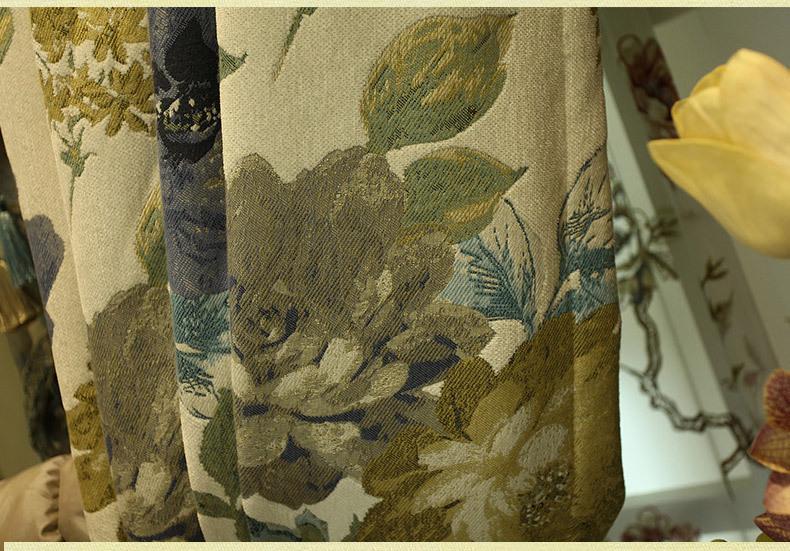 Cor da água flores de luxo design do artista gancho pendurar estilo cortinas da sala estar restaurante bege verde palácio hotel cortina - 5