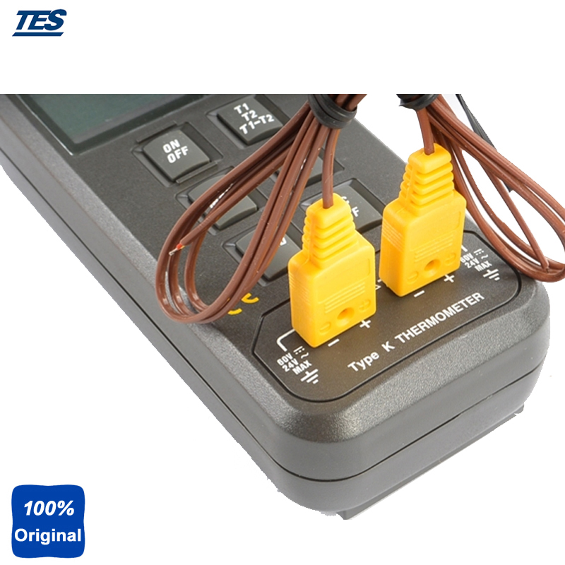 TES-1303 Digital Dual Input K Type Thermocouple Thermometer Industrial Thermometer Temperature Reader Sensor -50 to +1300 az8803 digital thermocouple thermometer with temperature range 50 1300 degree