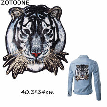 ZOTOONE Big Fashion Sequin Tiger Patches Embroidered Sew on for Clothes Badge Stickers Fabric DIY Applique T-shirt E