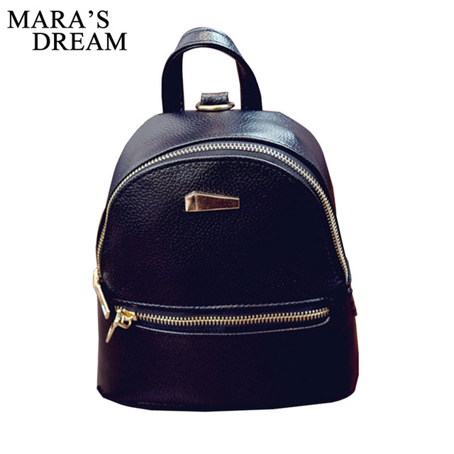 Mara s Dream 2018 New Women s Backpacks Brand Bag Fashion Black High  Quality PU Leather Backpack Travel For School Bags Teenage b0d4463aee89c