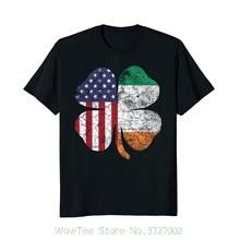 e4e56a59e04e Irish American Flag Ireland Shamrock St Patricks Day T Shirt 100% Cotton  Short Sleeves Tee