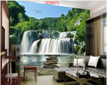 bee045ba4da beibehang Custom Ultra HD Waterfall 3D Plateau Snow Mountain Lake Nature Scenery  Landscape Wall wallpaper Decoration