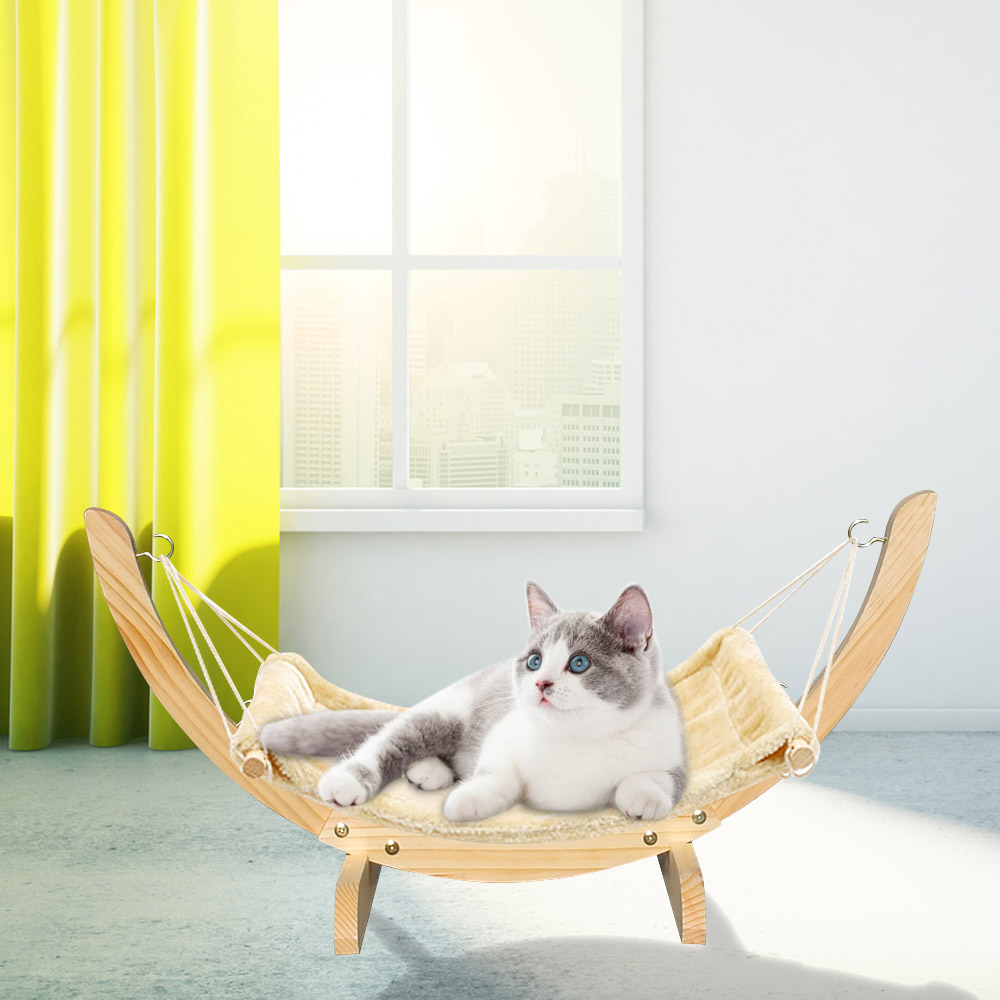 Warm Winter Cat Bed Soft Pet Cats Hammock Puppy Kitten Hanging Beds Mat With Durable Wood Frame For Small Pets