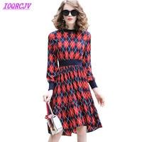 2018 New Spring Women Print Dress Europe Fashion Rhombus lattice Big swing Dress Plus size Elastic waist Slim Dress IOQRCJV Q142