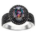 Espinela negro con orange tanzanite padparadscha o arco iris topacio o rubí corindón azul verde cz anillo de plata 925 joyería fina