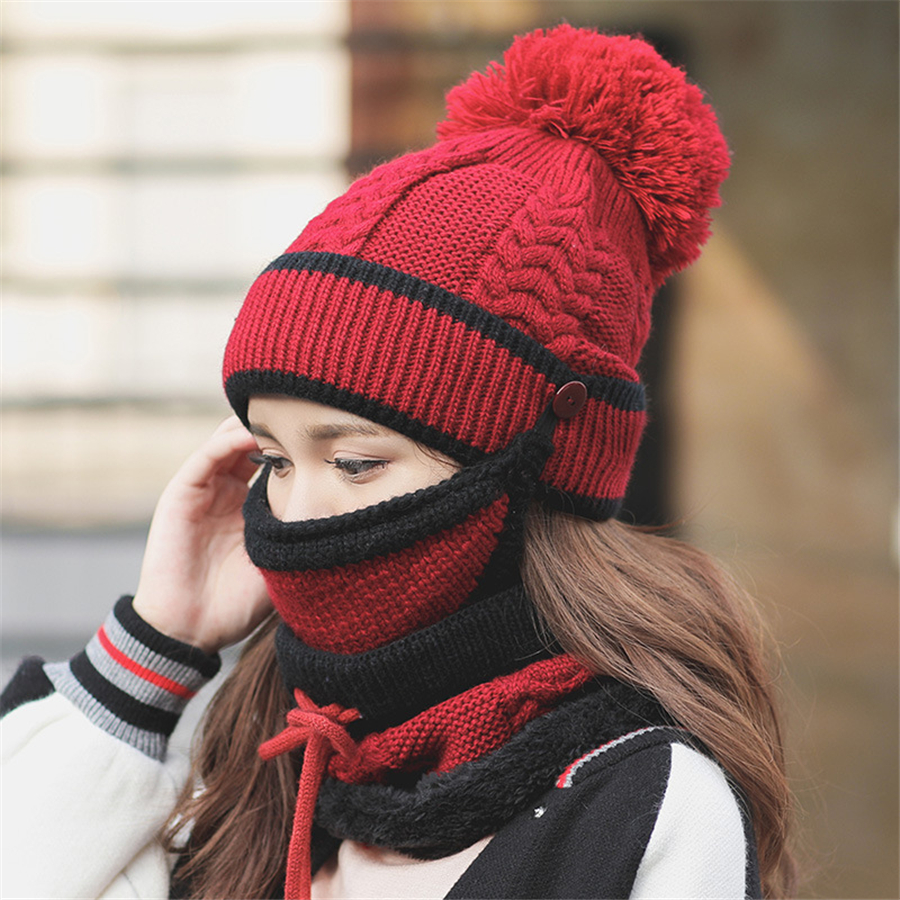 Set 3 Hats Women Winter Beanies Velvet Thick Bib Mask Ear Protector Skullies Beanie Hat Riding Hat Female Warm knitted Wool Cap 2