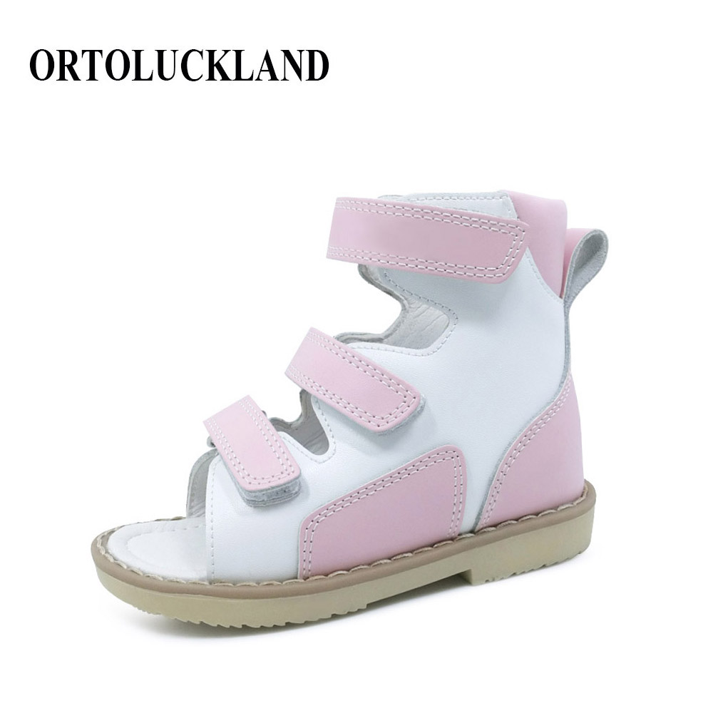 Simple Baby Girls Princess Pink Sandals Orthopedic Shoes Kids Ankle Medical Orthopedic Summer Shoes With Hoop And Loop Design simple men s casual shoes with criss cross and color block design