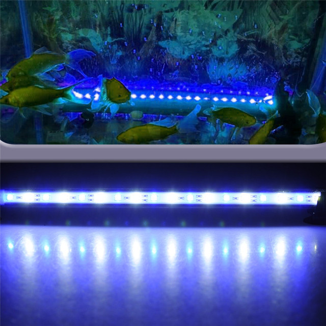 aquarium led lighting fish tank 37cm 18 led 5050 smd blue white light bar underwater submersible