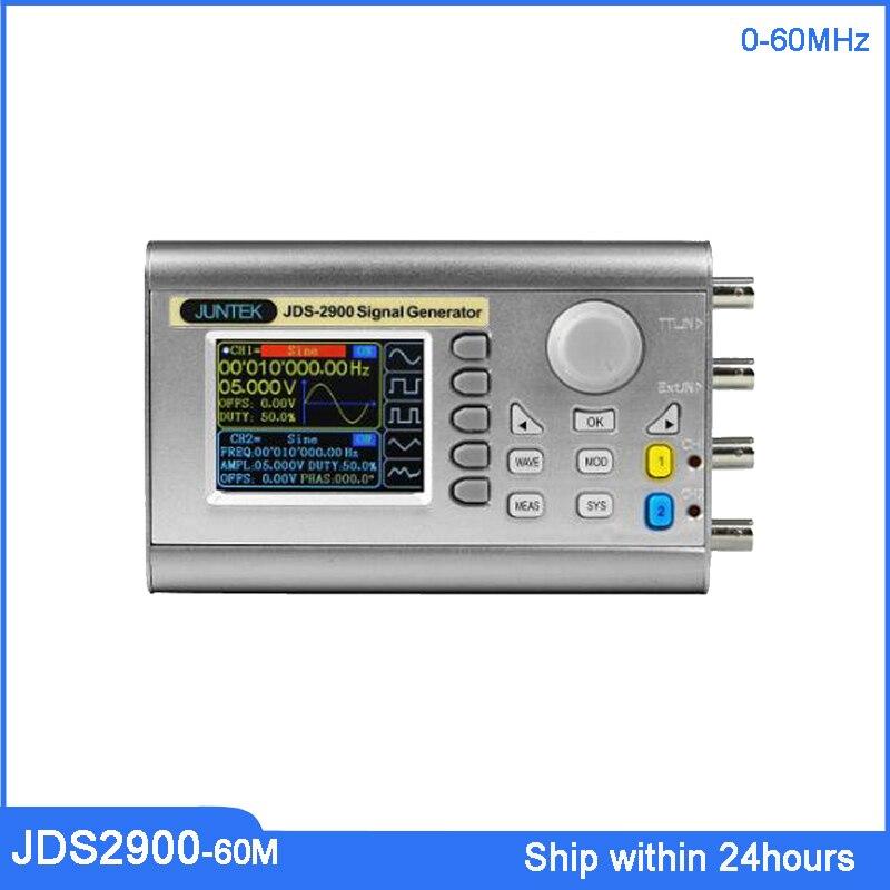 JUNTEK JDS2900-60M 60Mhz contrôle numérique double canal DDS fonction générateur de Signal compteur de fréquence haldé forme d'onde arbitraire