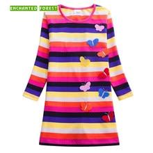 купить Girls Dress Long Sleeve 2018 Floral Dress Princess Dress Girls Costumes Cotton Striped Vestidos Kids Clothes dress for girl по цене 590.47 рублей