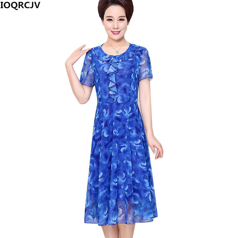 Summer Women Dresses New Middle-aged Mother Clothing Print Chiffon Dress  Fashion Lotus Leaf Loose 054f38ea5e19
