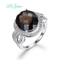 L Zuan 925 Sterling Silver Jewelry Ring 7 7ct Natural Smoky Quartz Romantic Luxury Rings Fine