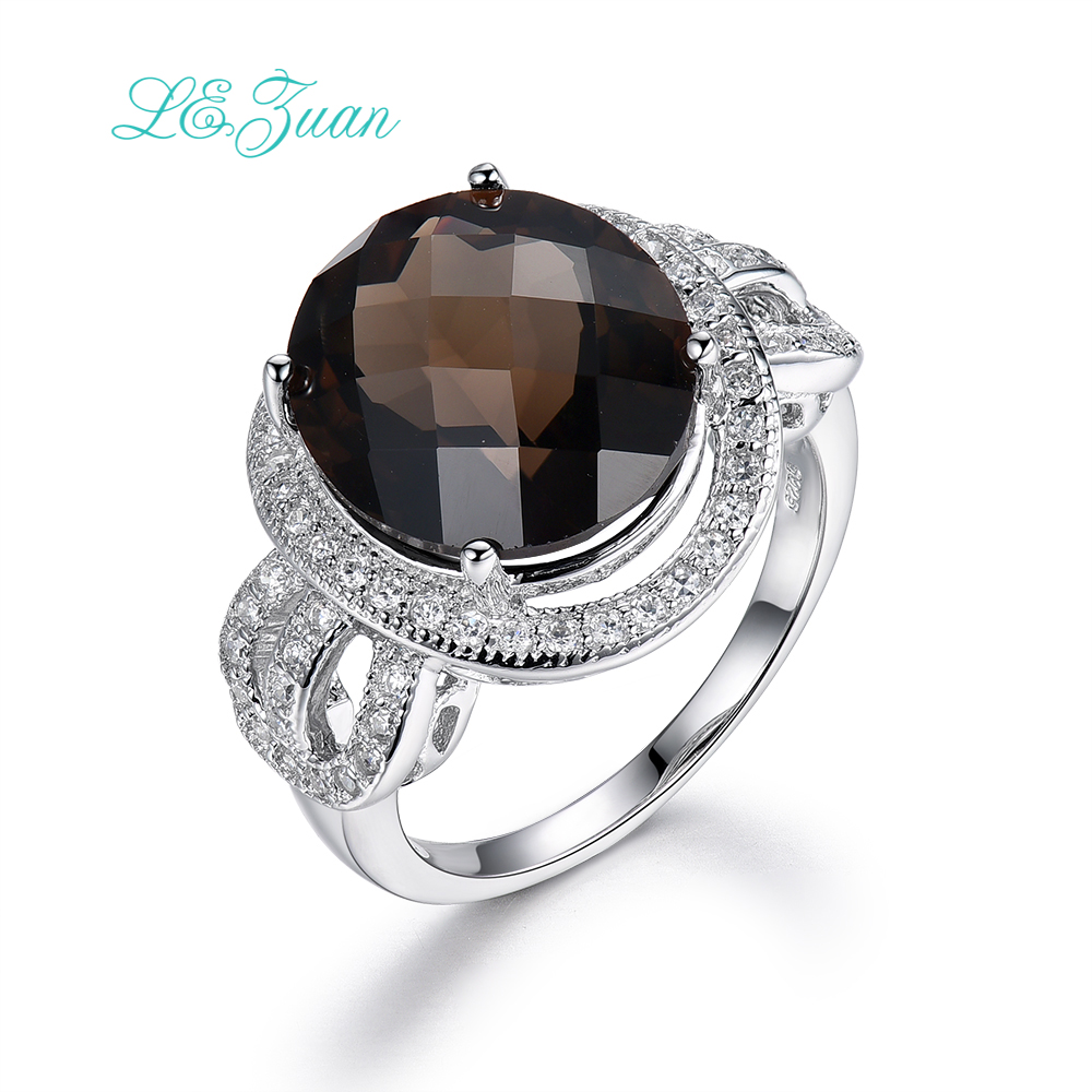 L&zuan Sterling Silver Jewelry Ring 7.7ct Natural Smoky Quartz Gemstone Romantic Luxury Rings For Women Fine Jewelry R0052-W04
