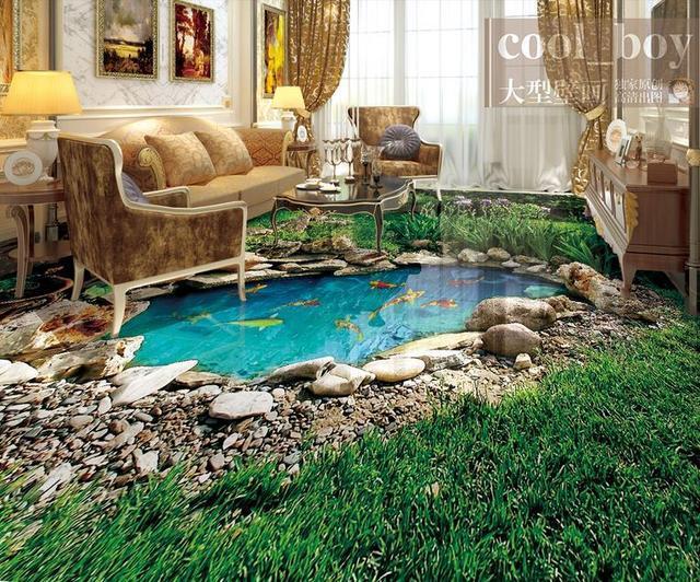 Benutzerdefinierte 3d bodenbelag park b ume gras landschaft 3d stereoskopische tapete - Fliesentattoo bad ...