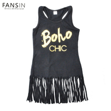 Fansin Brand Toddler Kids Casual Tassel Girls Dress Black Sleeveless Letter Children Dresses Summer Baby Kids Princess Clothing