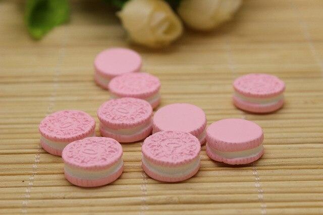 50pcs lot pink resin oreo cookie fake faux food kawaii cabochon for