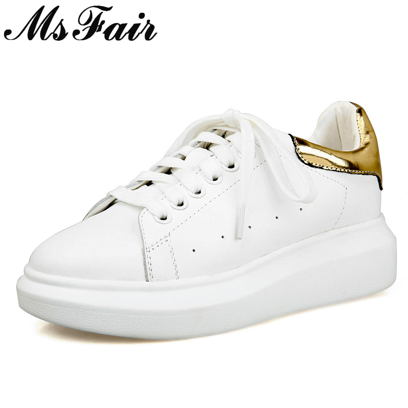 MsFair Genuine Leather Flats Sneakers Shoes Woman Fashion Mixed Colors Women Casual Shoes Brand Sneakers Women White Flat Shoes msfair 2018 cow leather skateboarding shoes woman brand genuine leather women sport shoes rhinestone white sneakers for ladies