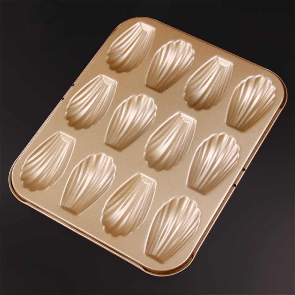High quality 12 cup shell shaped metal baking pan,christmas party kitchen bakeware madeleine cookie pan,nonstick sea shell mold