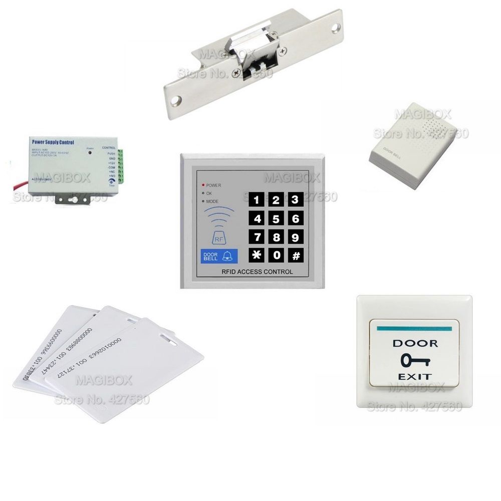 Access Control System for Frameless Glass Door ID/EM Card Reader & Keypad Electric Strike Lock +Power Supply+Door Bell+Switch raykube glass door access control kit electric bolt lock touch metal rfid reader access control keypad frameless glass door