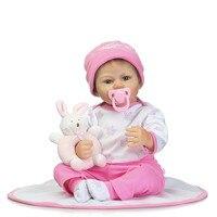 Roze mooie babypoppen met bell deken fles pretty end-hoge poupee kinderen huis onderwijs droom meisje siliconen reborn toys