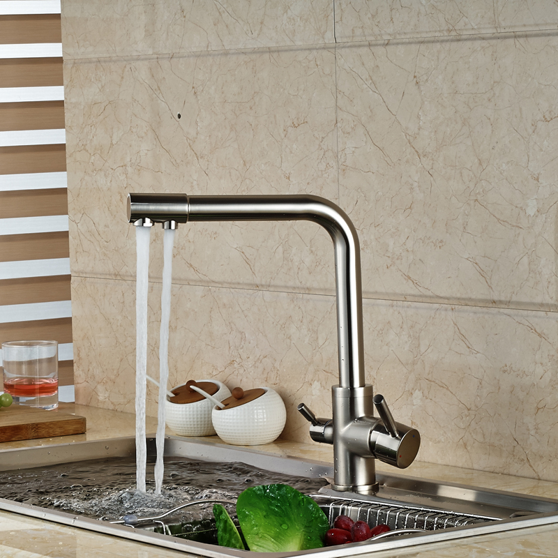 Brushed Nickel Dual Water Outlet Kitchen Sink Faucet Dual Handle Pure Water Mixer Taps Deck Mounted
