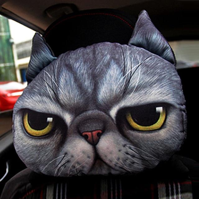 Car Headrest Auto Headrest Lovely 3d Printed Animals Face Car Seat