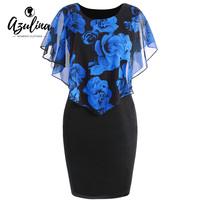 AZULINA Women Dress Plus Size Rose Valentine Overlay Capelet Bodycon Dress 2018 Casual Work Party Office
